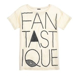 """J.Crew Linen """"Fantastique"""" Graphic T-Shirt - XS"""